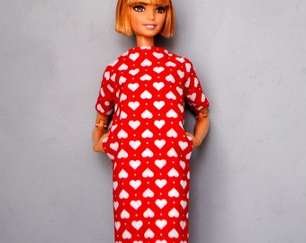 modern white hearts dress with pockets for Barbie & other 1:6 scale dolls