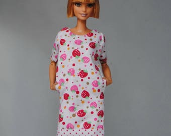strawberry dress with pockets for Barbie & other 1:6 scale dolls