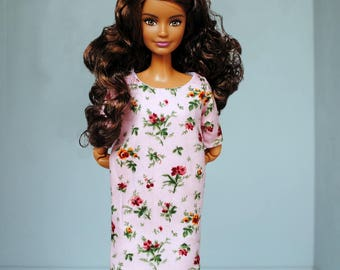powder pink floral dress with pockets for Barbie, Momoko, FR, Poppy Parker, Blythe, Pullip & other 1:6 scale dolls