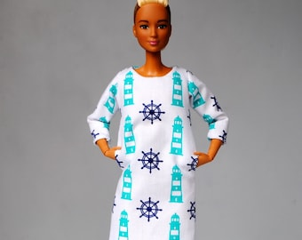 anchor dress with pockets for Barbie & other 1:6 scale dolls