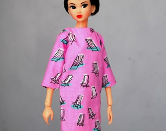deck chair pattern dress with pockets for Momoko & other 1:6 scale dolls