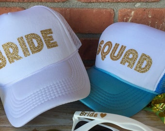e42711f52b1e0 Bride Squad Bachelorette Party hats Bach Hats Beach Weekend Bridesmaid  Destination Wedding Hats Gold Glitter hats