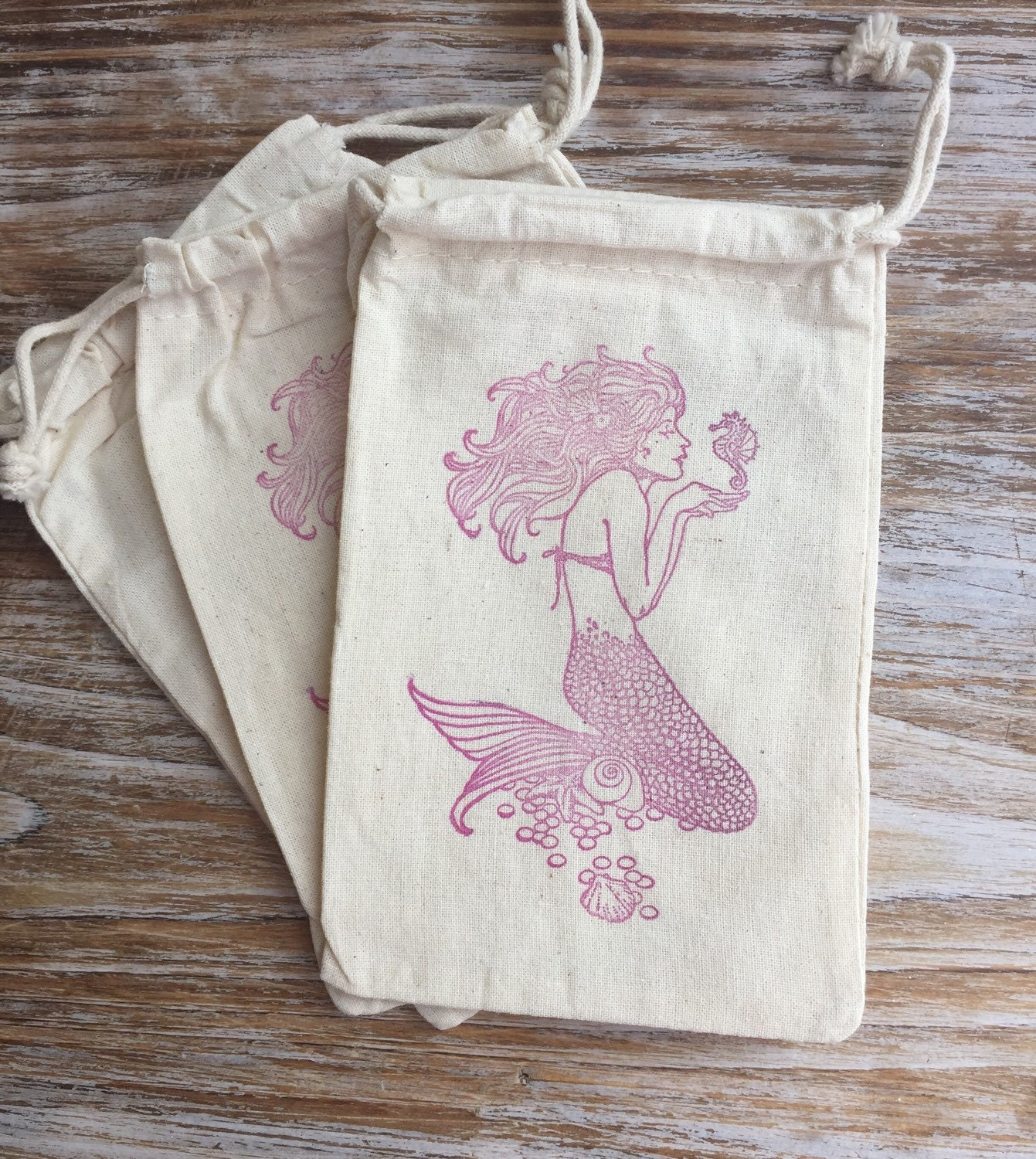 10 mermaid favor bags, mermaid party favors, beach wedding favor ...