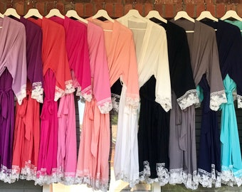 Lace Trimmed Bridesmaid Robes, 12 colors, Wedding Party Robes, Lace Robes, Getting Ready Robes, Wedding Robes, Bridal Robes, Cotton Robes