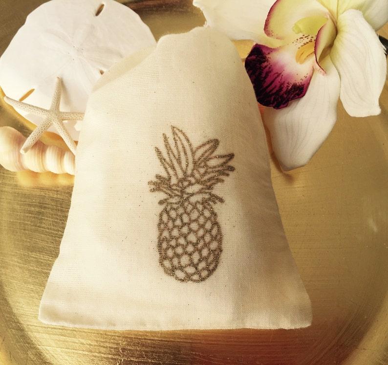 af66e86ea1 10 Gold Pineapple cotton favor bags beach wedding favors
