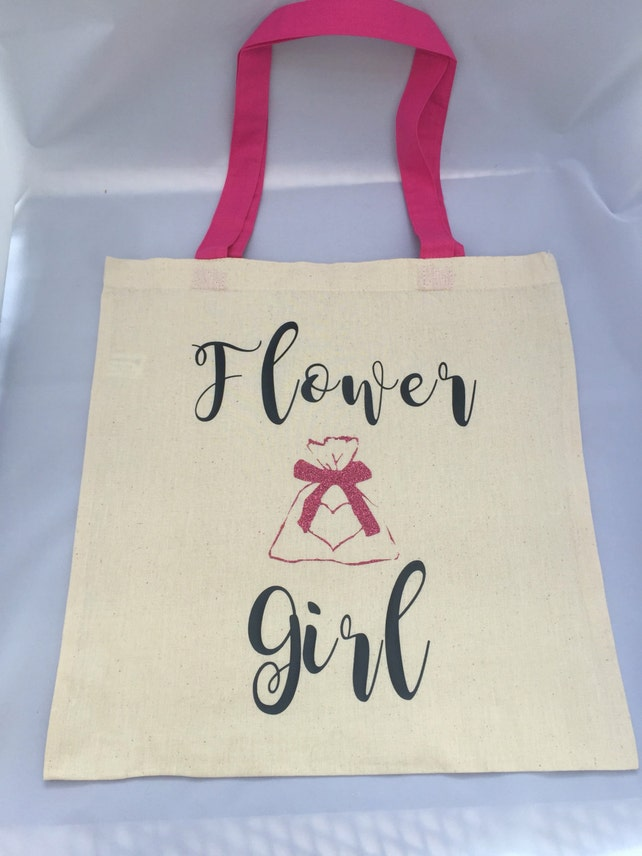 Flower girl tote bag, flower girl gift, custom flower girl tote, beach wedding flower girl tote, flower girl gift bag