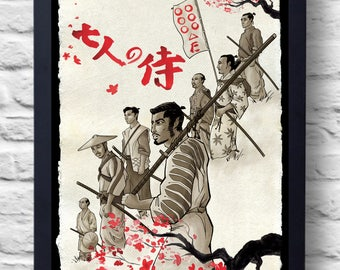 Seven Samurai- Movie Poster Print, Film Illustration Art, Akira Kurosawa