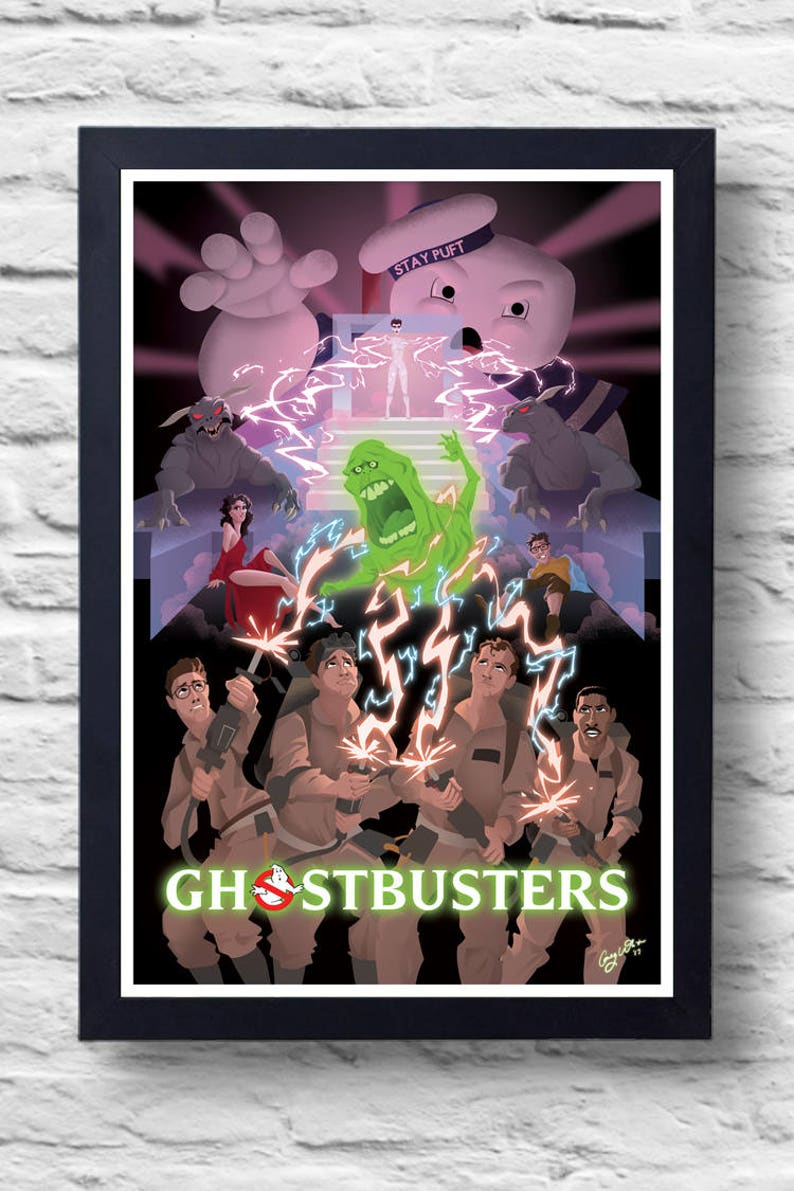 Ghostbusters 1984 Movie Poster Print Film Illustration Art Etsy
