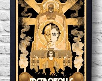 Metropolis- Movie Poster Print, art deco illustration, art, painting, gift