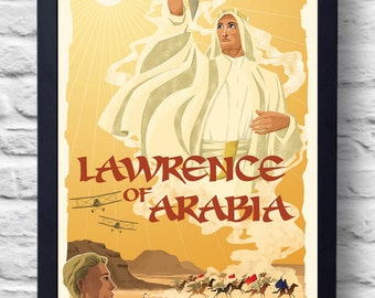 Lawrence of Arabia Portrait- Movie Poster Print, classic film poster, illustration, art, painting, gift