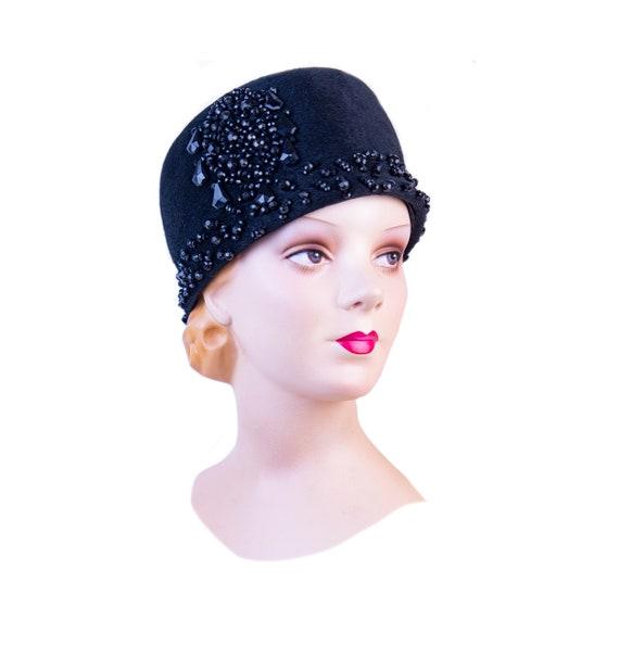 Vintage Hat 1950s Cloche Italian Beaded Couture Ha
