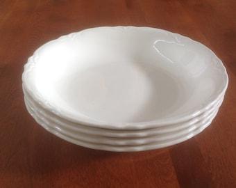 "Four (4) Homer Laughlin 8"" Republic Coupe Soup / Salad Bowls - A Shape Off White Ironstone"