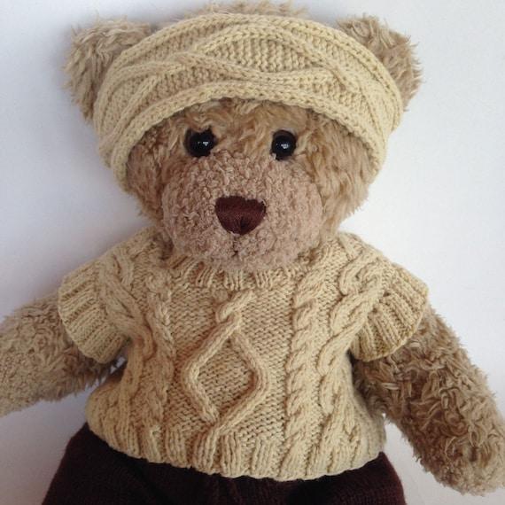 Teddy beer kabel wollen trui. Kabel brei teddybeer trui past