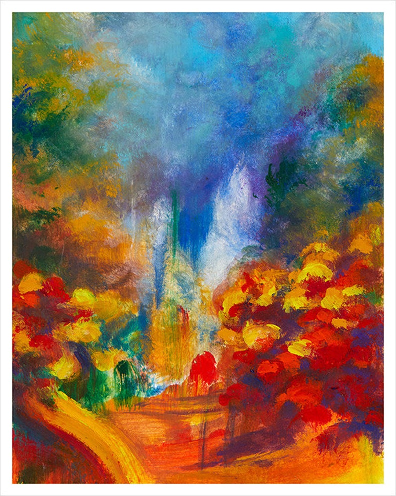 Autumn  Colorful Abstract Art Prints Landscape Wall Nature image 0