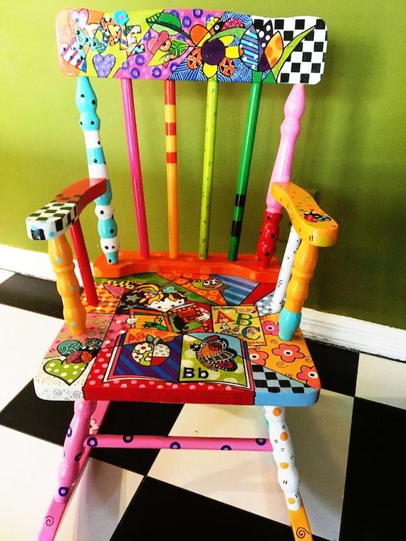 Prime Custom Order Hand Painted Kids Rocking Chair Creativecarmelina Interior Chair Design Creativecarmelinacom