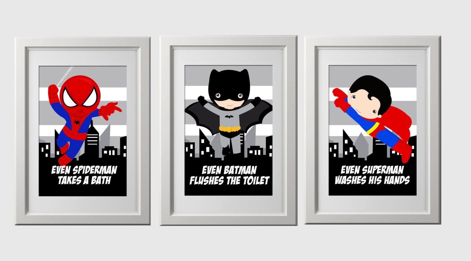 superhero bathroom wall prints instant download set of 3 | Etsy