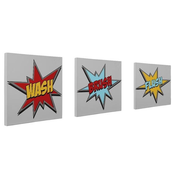 Superhero Bathroom CANVAS Prints Set Of 3 Wall Art