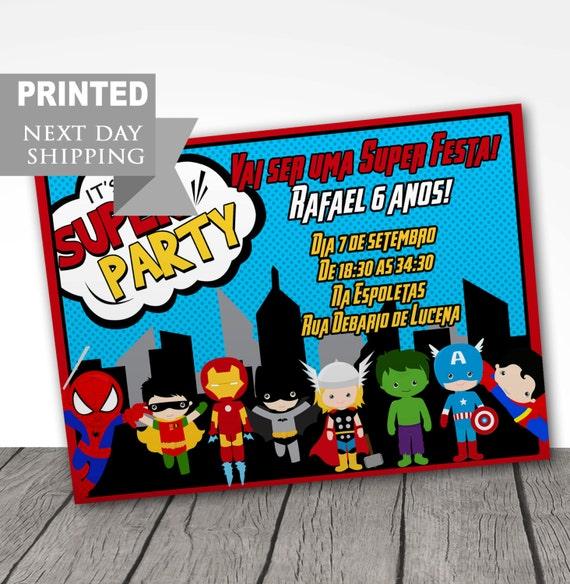 printed superhero birthday party invitations super hero party etsy