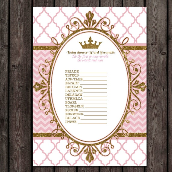 Baby Shower Word Scramble Princess Baby Shower Game Instant Etsy