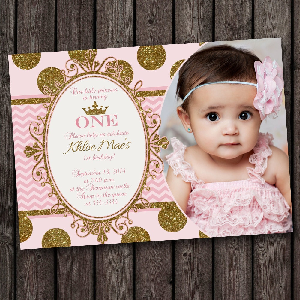 First Birthday Pink And Gold Invitation Princess Invitation Etsy