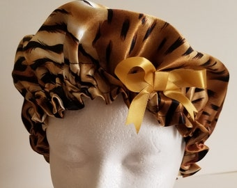 Satin Sleep Bonnet Cap - Leopard  - Girls