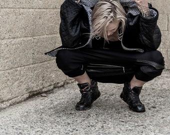 Velvet quilted lined geometric unisex streetwear jacket,festival wear, alternative fashion, graffiti art,festival fashion