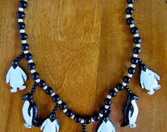"""Handmade/Vintage """"Penguin Party"""" Papier Mache Necklace"""