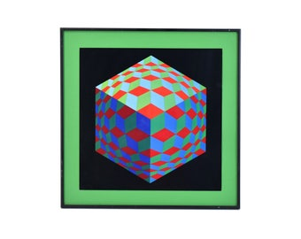 Vintage Modernist Geometric Abstract Optical Op Art Print Cubes