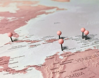 Pink world map etsy blush push pin world map diy poster pin your travels on this beautiful gumiabroncs Images