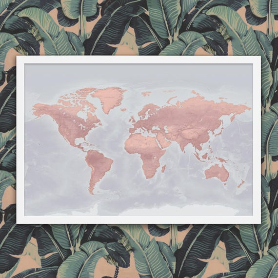 Pink World Map - Push Pin Travel Map With - Blush colored map
