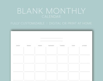 Blank Calendar Pdf Etsy