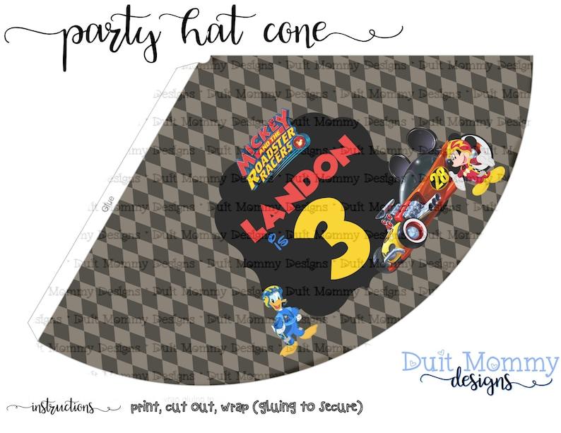 3c09e2e6aa7de Party Hat Cone Popcorn Cone Mickey Roadster Racers