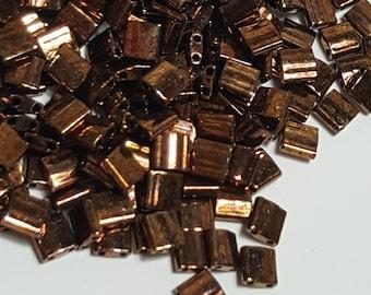 Select 5 or 10 Grams Metallic Dark Raspberry Iris #TL457B Miyuki Tila Bead 5mm Square