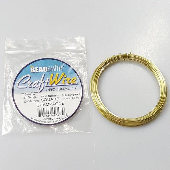 Half Round 18GA Beadsmith Champagne Gold Color Non Tarnish Wire 4 Yrds