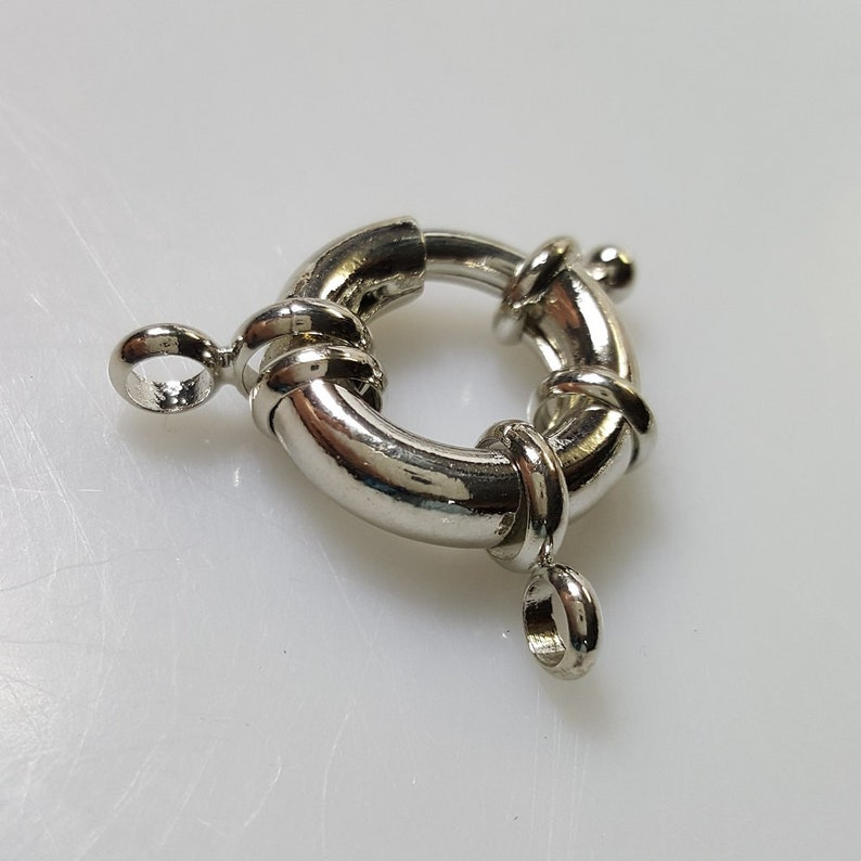 Incl Loops 30x22x5mm Large Brass Spring Clasps Hole: 3mm 5 Pieces Ring 17mm Silver Finish