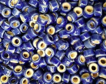 Mykonos Ceramic Greek Mini Tube Beads, 6x4mm, Royal Blue - Select 10 or 20