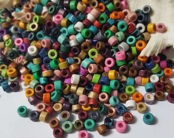 6x4mm Mykonos Greek Ceramic Mini Tube Beads - Rainbow - Select 50 or 100 Beads