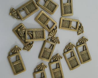Antique Brass Tropical Drink Tall Glass Charms, 19x11mm - 10 Pieces