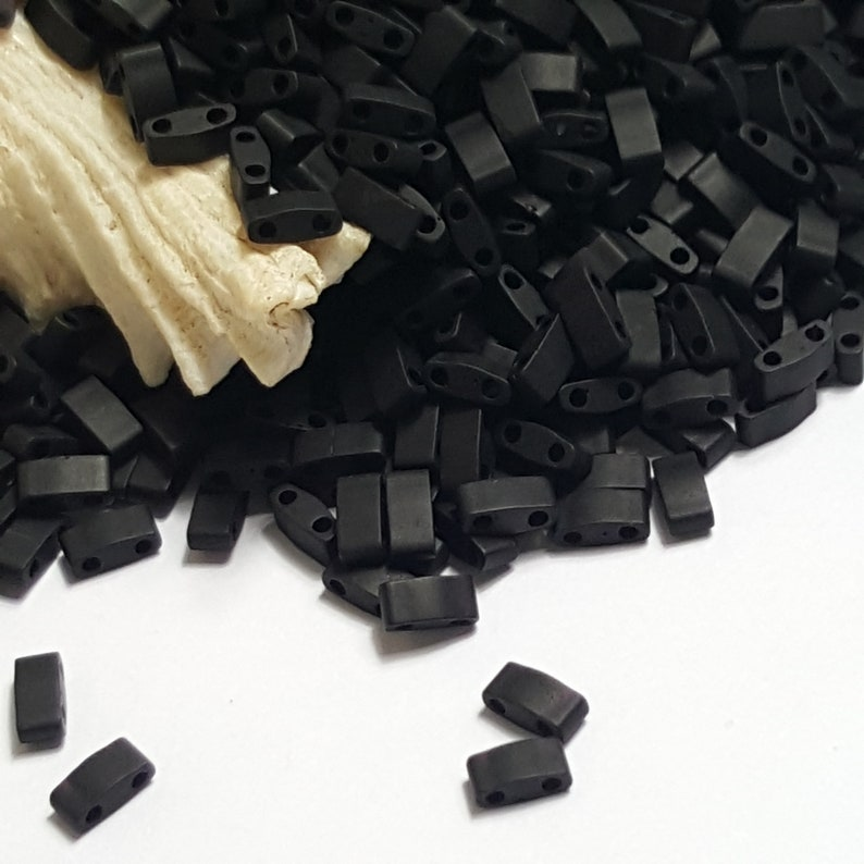 5 Grams Matte Black #TLH401F Miyuki Tila Half Cut 5mm Bead