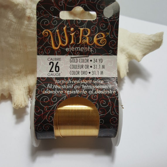 31m//34 yd Beadsmith 26 Gauge Tarnish Resistant Gold Color Copper Wire