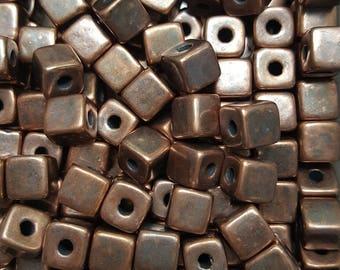 Greek Mykonos Rustic Bronze Cube Beads 7mm Ceramic Cube Bead - 20 beads