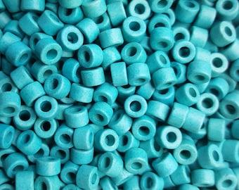 6x4mm Mykonos Greek Ceramic Mini Tube Beads - Turquoise Blue #406  - Select 50 or 100 Beads