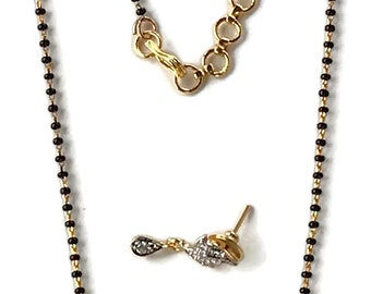 98ed6668df6d Black Beads Mangalsutra with Polki Pendant Earring Set. Indian Bollywood  Fashion. Ma m014