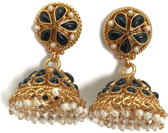 Free Shipping Surbhi Indian Party wear Jewelry Ea  e233  New Bollywood Designer Golden Earring Set Studded with Cubic Zerconia /& Pearls
