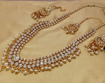 Kundan Golden Necklace Maang Tikka Earring Set Indian Bollywood Fashion Party wear Jewelry Na n2156