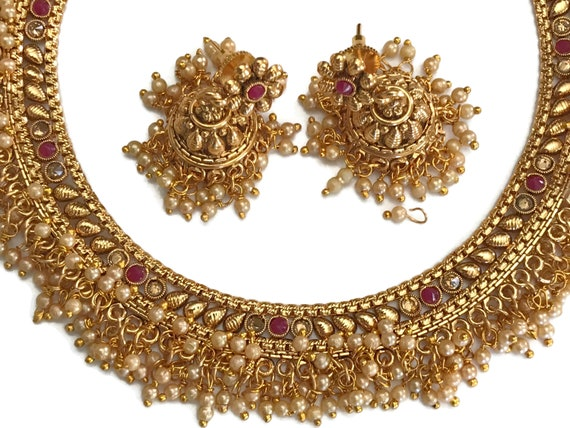 Indian Party wear Jewelry Free Shipping Na n094  New Bollywood Designer Ruby /& Emeralds Stones Necklace Earring Set Surbhi