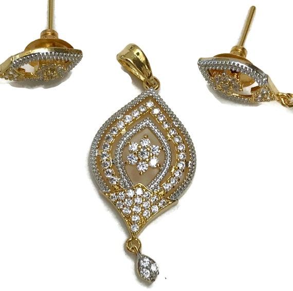 Indian Bollywood Fashion Party wear Jewelry Black /& White Polki Golden Pendant Earring Set Pa p101