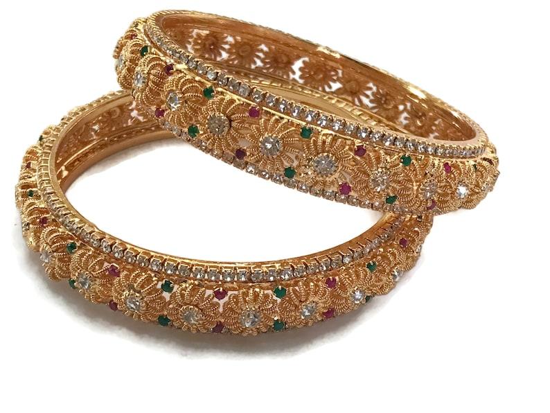 2.6 /& 2.8 size Ba b519 Polki  Golden Bangle Set Indian Bollywood Designer Party wear Jewelry