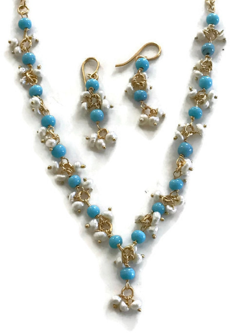 Na n018  New Bollywood Designer 17 Inches Pearls /& Feroza Beads Necklace Earring Set Indian Party wear Jewelry.Surbhi