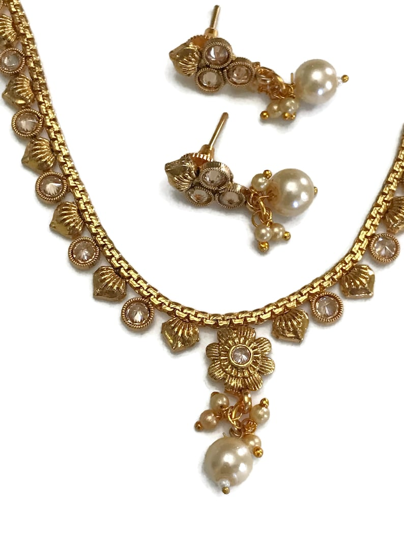 Pearls /& Polki Golden Necklace Pendant Earring Set Indian Bollywood Fashion Party wear Jewelry Na n2128
